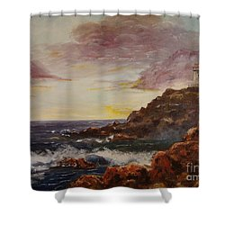 Shower Curtain featuring the painting New England Storm by Lee Piper