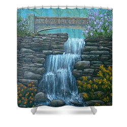 New England Waterfall Shower Curtain by Pamela Allegretto