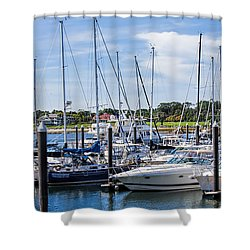 New Hampshire Marina Shower Curtain