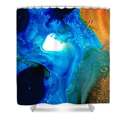 New Life - Abstract Landscape Art Shower Curtain by Sharon Cummings