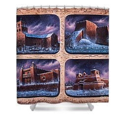New Mexico Churches In Snow Shower Curtain by Ricardo Chavez-Mendez
