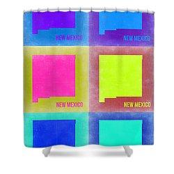 New Mexico Pop Art Map 2 Shower Curtain by Naxart Studio