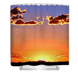 Shower Curtain featuring the photograph New Mexico Sunset Glow by Barbara Chichester