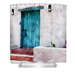 New Mexico Turquoise Door And Cactus  Shower Curtain