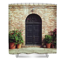 New Orleans Courtyard Door Shower Curtain