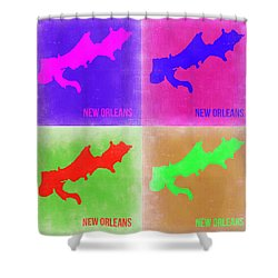 New Orleans Pop Art Map 2 Shower Curtain by Naxart Studio