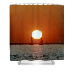 New Orleans Sailing Sun On Lake Pontchartrain Shower Curtain