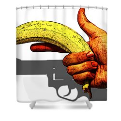 New Photographic Art Print For Sale   Hand Gun Against A White Background Shower Curtain