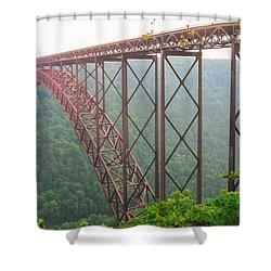New River Gorge Bridge   Shower Curtain by Lars Lentz