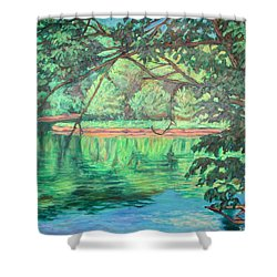 New River Reflections Shower Curtain by Kendall Kessler