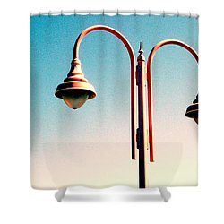 Beach Lamp Post Shower Curtain by Valerie Reeves