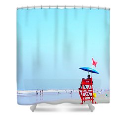 New Smyrna Lifeguard Shower Curtain by Valerie Reeves