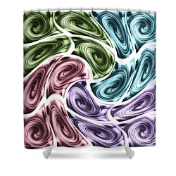 Shower Curtain featuring the mixed media New Swirls by Ann Calvo