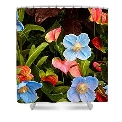 New World And Old World Exotic Flowers Shower Curtain by Byron Varvarigos