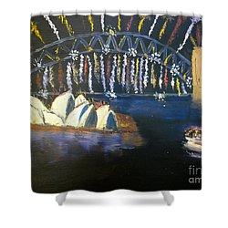 Shower Curtain featuring the painting New Year Eve On Sydney Harbour by Pamela  Meredith