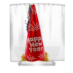 Happy New Year Party Hat Shower Curtain by Vizual Studio
