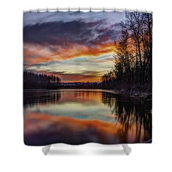 New Years Eve Sunset Shower Curtain