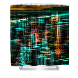 New York - The Night Awakes - Green Shower Curtain by Hannes Cmarits