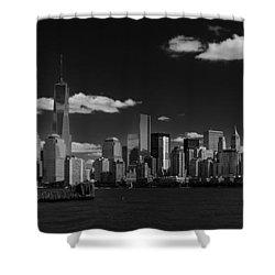 New York 1 Black And White Shower Curtain