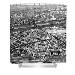 New York 1937 Aerial View  Shower Curtain by Underwood Archives