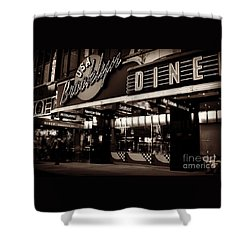New York At Night - Brooklyn Diner - Sepia Shower Curtain