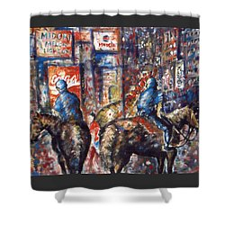 New York Broadway At Night - Oil On Canvas Painting Shower Curtain