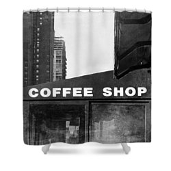 Shower Curtain featuring the photograph New York City Coffee Shop In Black And White by Brooke T Ryan