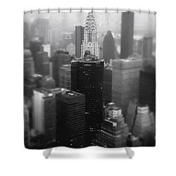 New York City - Fog And The Chrysler Building Shower Curtain by Vivienne Gucwa