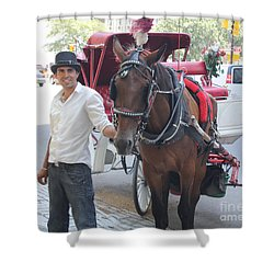 New York City Horse And Carriage Shower Curtain by John Telfer