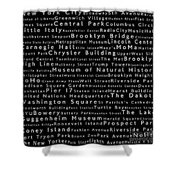 New York City In Words Black Shower Curtain