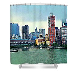 Shower Curtain featuring the photograph New York City Landscape by Judy Palkimas