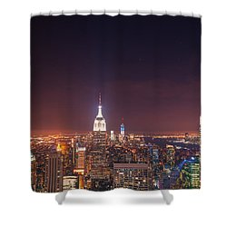 New York City Lights At Night Shower Curtain by Vivienne Gucwa