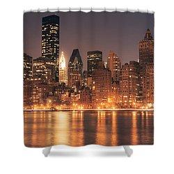 New York City Lights - Skyline At Night Shower Curtain by Vivienne Gucwa