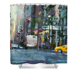 New York City Morning In The Street Shower Curtain by Dan Sproul