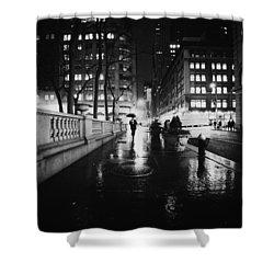 New York City - Night Rain Shower Curtain by Vivienne Gucwa