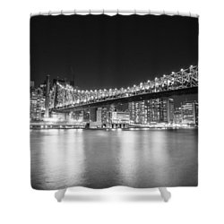New York City - Queensboro Bridge At Night Shower Curtain by Vivienne Gucwa