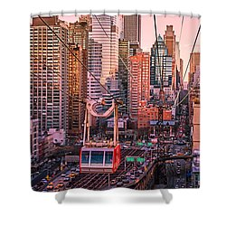 New York City - Skycrapers And The Roosevelt Island Tram Shower Curtain by Vivienne Gucwa
