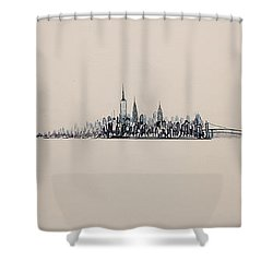 New York City Skyline 15x45 2013 Shower Curtain