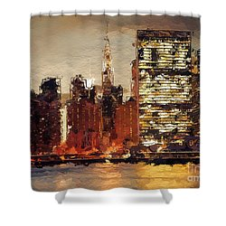 Shower Curtain featuring the digital art New York City Skyline Abstract by Anthony Fishburne