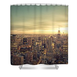New York City - Skyline At Sunset Shower Curtain by Vivienne Gucwa