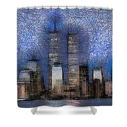 New York City Blue And White Skyline Shower Curtain