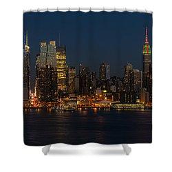 New York City Skyline In Christmas Colors Shower Curtain by Susan Candelario