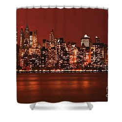 New York City Skyline In Red Shower Curtain