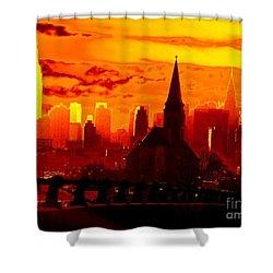 New York City Skyline Inferno Shower Curtain by Ed Weidman