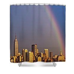 New York City Skyline Rainbow Shower Curtain by Susan Candelario