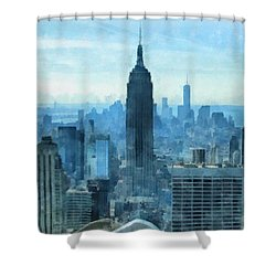 New York City Skyline Summer Day Shower Curtain by Dan Sproul