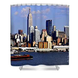 New York City Skyline With Empire State And Red Boat Shower Curtain by Kathy Flood