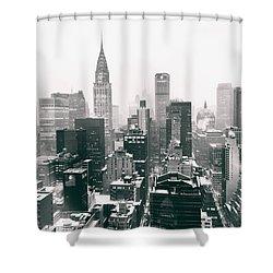 New York City - Snow-covered Skyline Shower Curtain