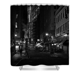 New York City Street - Night Shower Curtain by Vivienne Gucwa