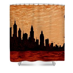 New York City Sunset Silhouette Shower Curtain by Georgeta  Blanaru
